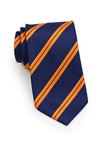 Bows-N-Ties Men's Necktie Preppy Repp Striped Microfiber Satin Tie 3.1 Inches (Orange and Navy)