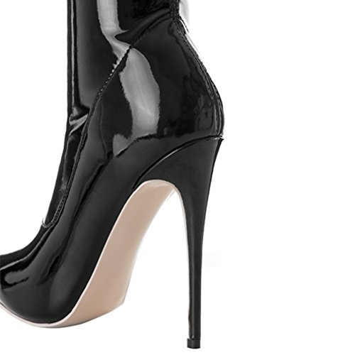Enmayer Damesschoenen Stretch Lakleer Hoge Hakken Spitse Neus Over De Knie Slip-on Stiletto-laarzen Zwart