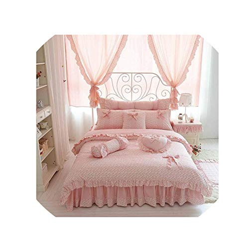 (Cherry Printing 100 Cotton Bedding Sets King Queen Size Bow Quilt Cover Ruffles Bedspread Bed Linen Pillowcases 4/6/8Pcs,Pink Without Lace,Queen Size 4Pcs)
