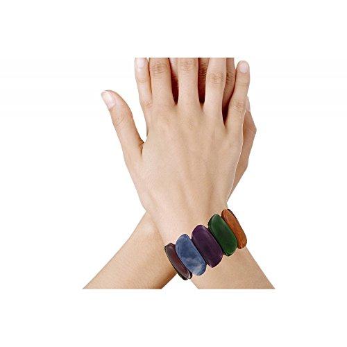 Les Poulettes Bijoux - Bracelet Elastique Tagua Multicolore Automne