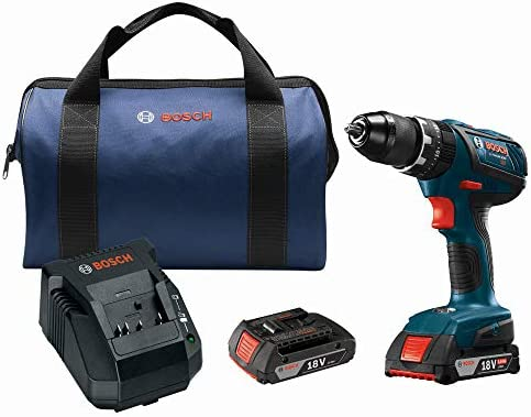 Bosch HDS181A-02-RT 18V Lithium-Ion 1 2 in. Cordless Hammer Drill Driver Kit 2 Ah Renewed