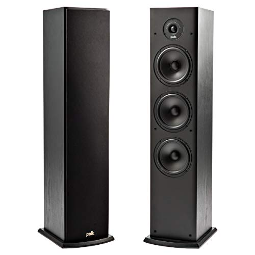 Polk T50 150 Watt Home Theater Floor Standing Tower Speaker (Single) - Premium Sound at a Great Value | Dolby and DTS Surround