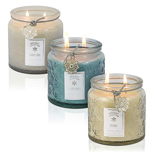 - Dynamic Collections Snowflake Embossed Christmas Jar Candle - 3 Pack - Scented 2-Wick Candle Gift Set with Lids in Pastels - Blue, Ivory and White