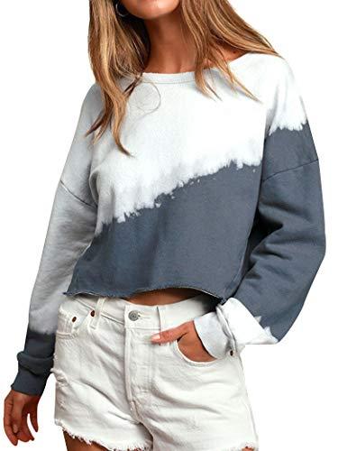 MYMORE Women's Tie Dye Crop Sweatshirt Crewneck Long Sleeve Color Block Ombre Pullover Shirt Top