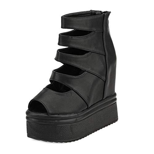 MIOKE Women's Wedge Platform Caged Sandals Peep Toe Chunky Hidden Heels Zipper Strappy Gladiator Booties
