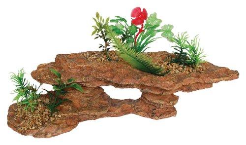 AQ28127 Platform Rock with Plants Aquarium Fish Tank Vivarium decoration Ornament Fadulla