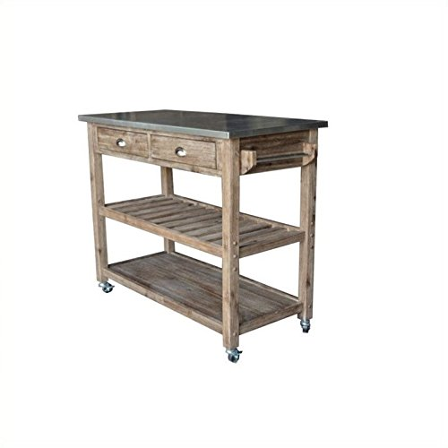 - Boraam 98520 Sonoma Wire-Brush Kitchen Cart