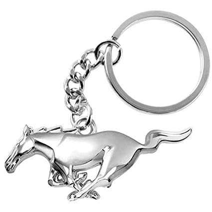 Ford Mustang 3D Pony Chrome Metal Key Chain, Key Chains