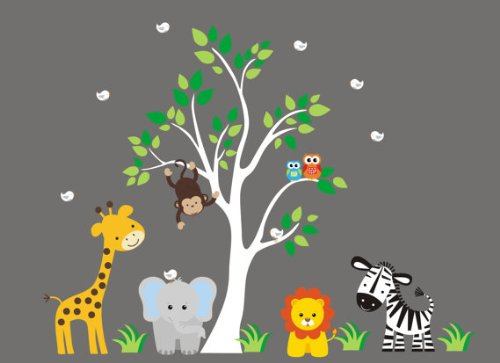Baby Nursery Wall Decals Safari Jungle Children's Themed 83'' X 97'' (Inches) Animals Trees Wildlife: Repositionable Removable Reusable Wall Art: Better than vinyl wall decals: Superior Material by Nursery Wall Decals