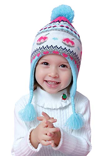 Home Prefer Baby Girls Winter Hat Warm Fleece Knitted Kids Earflap Hat for Baby (S: 44-46cm Suggest to 6-12mos, Aqua)