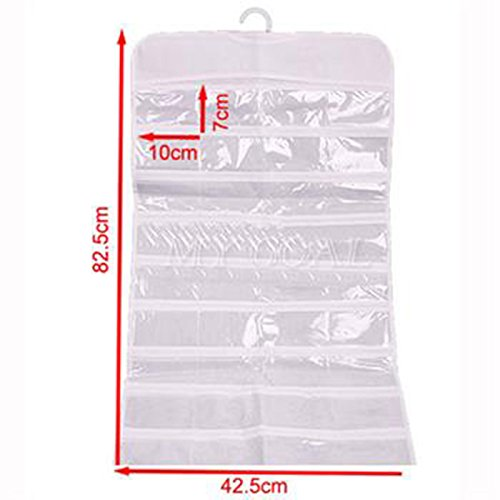 Sedeta Hanging Jewelry Organizer Ring necklace Accessories Organizer Pouch Holder Hang Hook Bag Suspension bags72 Pocket Double Sided for your dress room for your ear rings For Jewelry