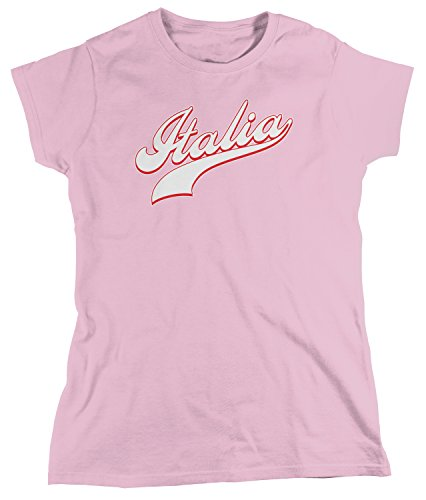 (Amdesco Women's Italia Baseball Font, Italy Italian Pride T-Shirt, Light Pink Large)