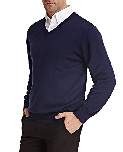 Blue Long Sleeve Sweater (PAUL JONES Men's Thick Comfortable Sweater Slim Fit Pullover Size L Navy Blue)