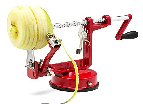 Greenco Stainless Steel Apple Peeler, Slicer, and Corer, Strong Suction Base, Works for Apples, Potatoes, Pears, and More (Red)