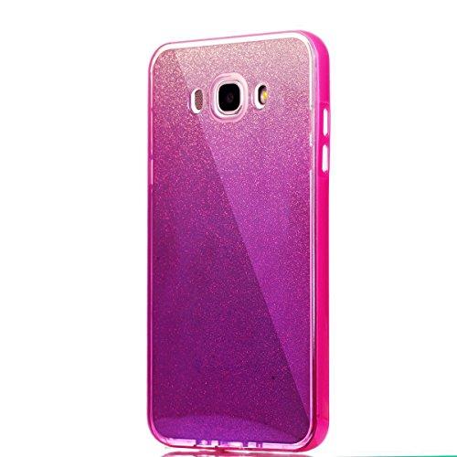 Ukayfe 2 In 1 Funda para Samsung Galaxy J7(2016), Suave Carcasa Caso Parachoques Diseño pintado Patrón para Samsung Galaxy J7(2016),Funda Case Lujo Premium Bling Caja PC Dura Ultra Fina Cubierta Matt  Rosa caliente