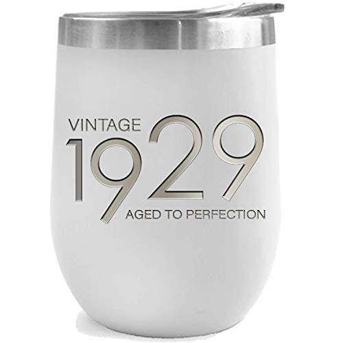 1929 90th Birthday Gifts for Women and Men White 12 oz Insulated Stainless Steel Tumbler | 90 Year Old Presents | Mom Dad Wife Husband Present | Party Decorations Supplies Anniversary Tumblers Gift th (Birthday Present For 90 Year Old Man)