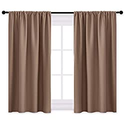 "PONY DANCE Kitchen Blackout Curtains - Thermal Insulated Window Treatments Curtain Panels with Rod Pocket Light Block Privacy Protect for Bathroom, Wide 42"" by Long 45"", Mocha, Two Pieces"