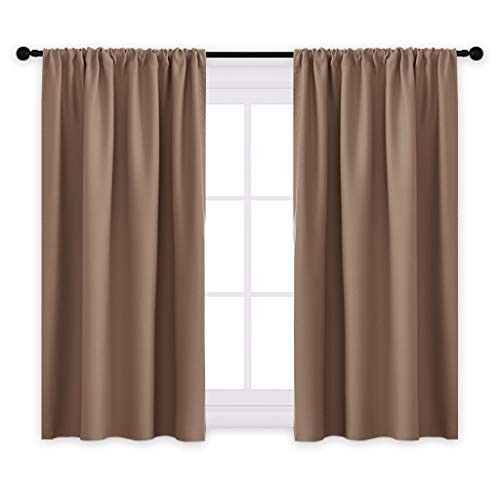 """PONY DANCE Kitchen Blackout Curtains - Thermal Insulated Window Treatments Curtain Panels with Rod Pocket Light Block Privacy Protect for Bathroom, Wide 42"""" by Long 45"""", Mocha, Two Pieces"""