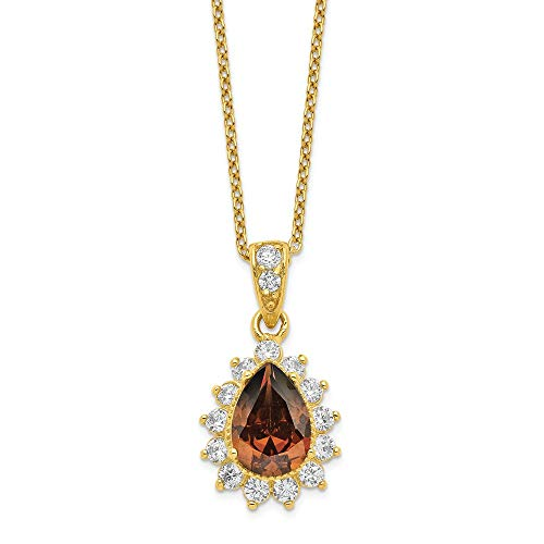 Jewelry Necklaces CZ Cheryl M Sterling Silver Gold Plated and Brown Brilliant-cut CZ ()