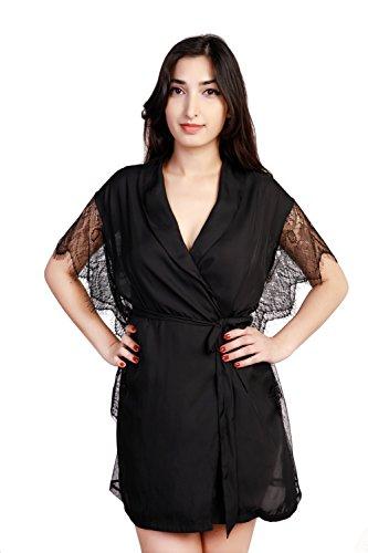 Dolcevida Womens Lace-Trimmed Bathrobe Short Satin Kimono Robes (S/M)