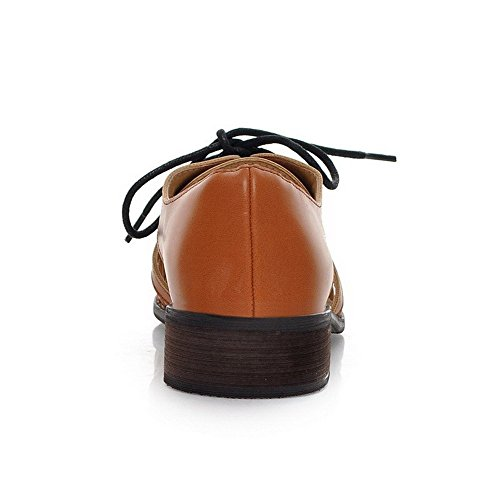 Material Brown Soft heels Low Sandals Lace up Women's Pointed Solid AllhqFashion Toe Closed xqwpfg016