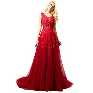Huifany Women's V Neck Lace A-line Empire Long Formal Evening Dress Prom Gown