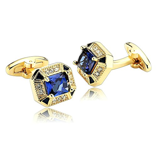 MoAndy Men's Cufflinks Stainless Steel Gold with Clear Blue Cubic Zirconia