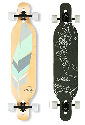 VOLADOR 42inch freeride longboard complete cruiser ( drop through deck - camber concave )(Tribe feather)