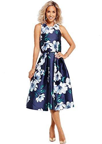 Myleene Klass Estampado Floral Vestido De Noche - Graduación/Boda - Azul Oscuro - Azul