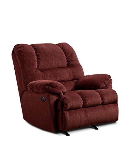 Simmons Upholstery U600P-19 Zig Zag Wine Power Rocker Recliner (Simmons Microfiber Chair)