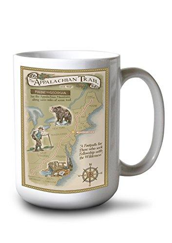Greenwood Lake, New York - Appalachian Trail Map (15oz White Ceramic ()