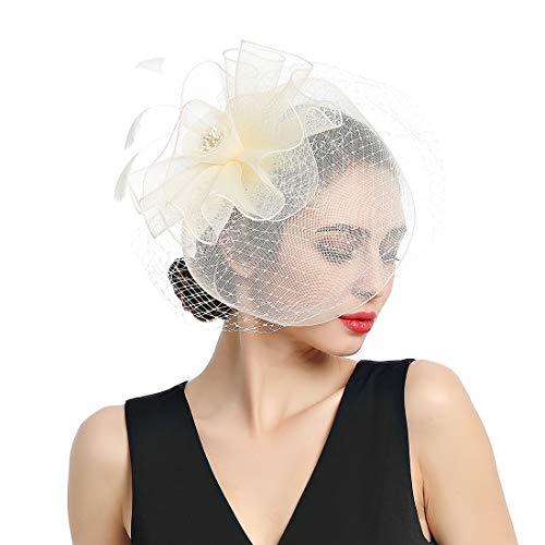 Women Fascinators Tea Party Cocktail Hair Clip Kentucky Derby Wedding Hat ()