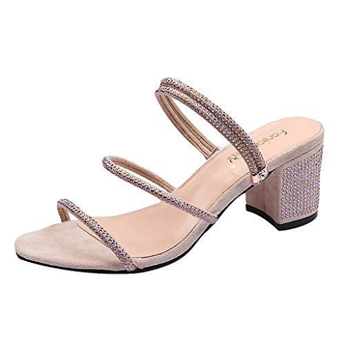 ✔ Hypothesis_X ☎ Womens Double 2 Strap Sandal Thick-Heeled Open-Toed Beach Slippers Summer Crystal Sandals Pink