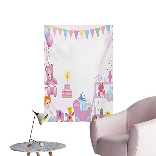 Anzhutwelve Kids Birthday Photo Wall Paper Baby Girl Birthday Celebration Party with Flags and Bears Cute Toys PrintPale Pink W20 xL28 Funny Poster ()