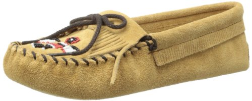 Minnetonka Women's Thunderbird Softsole Moccasin,Tan,7 M US