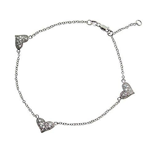 Sterling Silver Triple Pave Cubic Zirconia Heart - Triple Anklet Heart