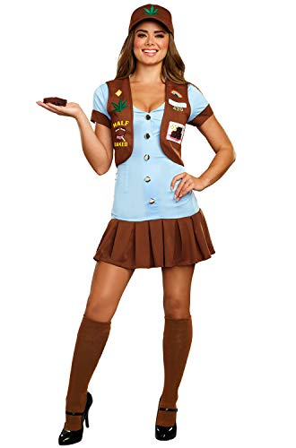 420 Halloween Costumes (Dreamgirl Women's Cute Half-Baked 420 Scout Costume, Multi,)