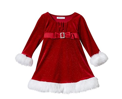 Baby Bonnie Jean Red Velour Sparkle Santa Dress -Fur Trimmed Size 24 Mo