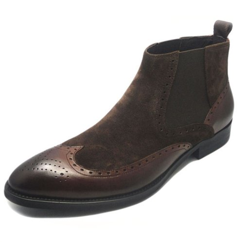 Fulinken Mens Two-tone Suede Leather Formal Dress Boots Slip on Brogue Wingtip Shoes Chelsea Boots Brown TOrPW