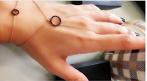 Zircon Double Round Slave Bracelet Hand Chain 925 Sterling ()