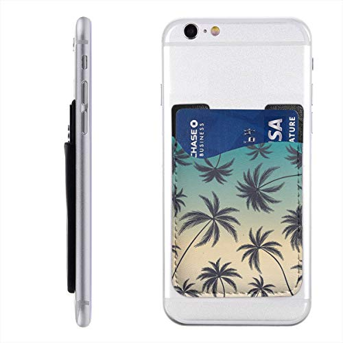 Coconut Palm Trees On Colorful Cell Phone Card Holder, Stick On Wallet for Back of Phone, 3M Adhesive Ultra Slim Phone Pocket ID Credit Card Holder Sleeves Pouch Compatible All Smartphone