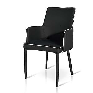 MilaniHome Sillón de Tela Color Negro