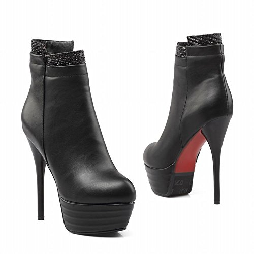 Carolbar Heel Black Platform Fashion Stiletto Dress Charm High Boots Women's 1XWq1xwTpr