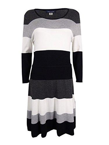 Tommy Hilfiger Women's Stripe Sweater Dress, Black-Charcoal-Vanilla, L