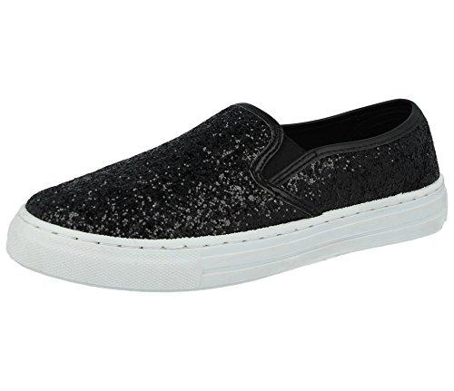 Dames Pompes À Paillettes Ella Glissent Sur Les Bas Baskets Montantes De Plimsoll Espadrille Chaussures Plates Taille 3-8 Noir