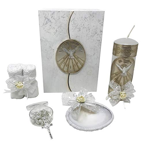 Catholic Baptism Kit in a Wooden Box with Towel, Candle, Rosary and Shell for Baby Boys and Girls. Handmade in Mexico Gift for Godparents. Holy Spirit Baptism Candle Set. Kit - Christening Set