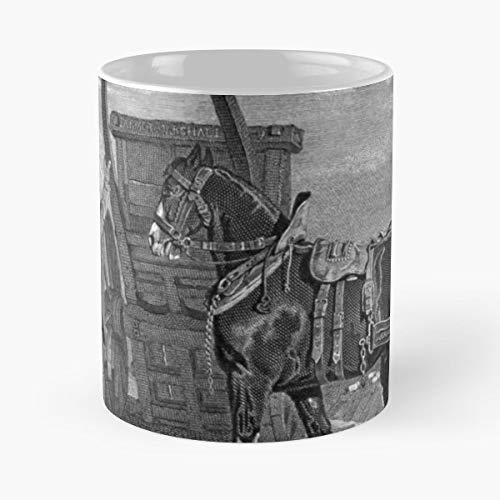 (Black White Horse Cart - Morning Coffee Mug Ceramic Novelty Holiday)