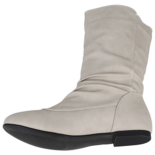 Stiefelparadies Bequeme Flache Damen Stiefel Hochschaft Stiefeletten Schuhe Flandell Creme Nieten