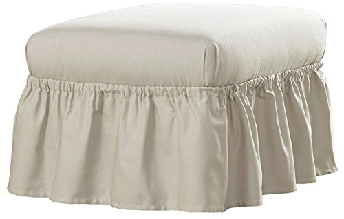 Serta Relaxed Fit Duck Furniture Slipcover for Ruffle Ottoman, (Sure Fit Duck Slipcover)