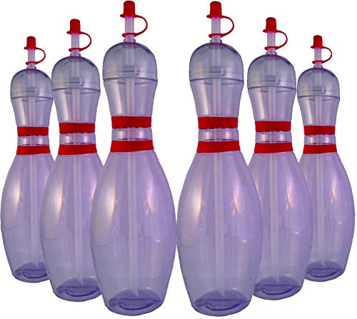 Large Bowling Pin Water Bottles Clear - 6 Pack